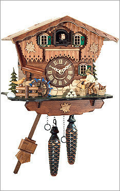 Black Forest Chalet Cuckoo Clock with Wood Chopper