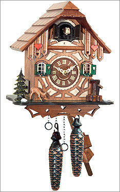 Black Forest Chalet Cuckoo Clock with hearts on front