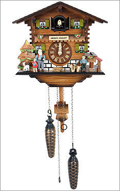 Black Forest Chalet Cuckoo Clock with Bavarian Family