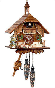 Black Forest German Mountain Chalet Cuckoo Clock with Bell Tower