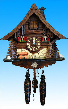Black Forest Chalet Cuckoo Clock with Edelweiss flower