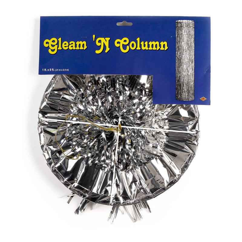 Silver Oktoberfest Gleam 'N Column Party Decoration - $10 - $20, Foil, Oktoberfest, PS- Oktoberfest Decorations, PS- Oktoberfest Essentials-All OKT Items, PS- Oktoberfest Hanging Decor, PS- Oktoberfest Table Decor, Silver, Tableware - 2