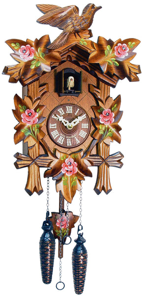 Black Forest Carved Cuckoo Clock with Red Flowers