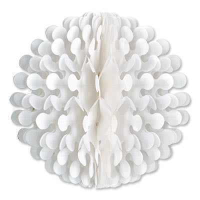 9 inches White Tissue Flutter Ball Oktoberfest Decoration - Below $10, Hanging Decorations, Oktoberfest, PS- Oktoberfest Decorations, PS- Oktoberfest Essentials-All OKT Items, PS- Oktoberfest Hanging Decor, White