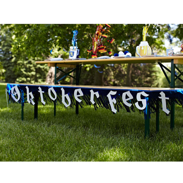 7.5 Foot Oktoberfest Fringed Metalic Banner Party Decorations - $10 - $20, Banners, Blue/White, Hanging Decorations, Oktoberfest, PS- Oktoberfest Decorations, PS- Oktoberfest Essentials-All OKT Items, PS- Oktoberfest Hanging Decor, PS- Oktoberfest Table Decor, PVC, Tableware - 2