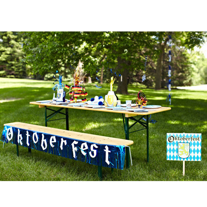7.5 Foot Oktoberfest Fringed Metalic Banner Party Decorations - $10 - $20, Banners, Blue/White, Hanging Decorations, Oktoberfest, PS- Oktoberfest Decorations, PS- Oktoberfest Essentials-All OKT Items, PS- Oktoberfest Hanging Decor, PS- Oktoberfest Table Decor, PVC, Tableware - 2 - 3 - 4