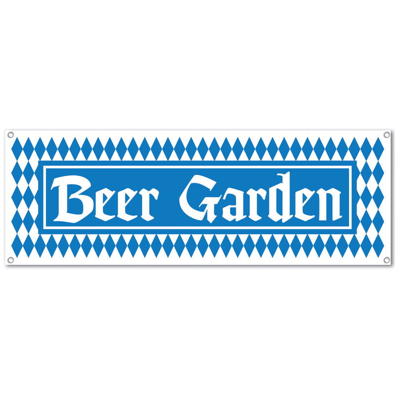 5' x 21 inches Beer Garden Sign Banner - Banners, Hanging Decorations, Oktoberfest, PS- Oktoberfest Decorations, PS- Oktoberfest Essentials-All OKT Items, PS- Oktoberfest Hanging Decor, PS- Oktoberfest Table Decor, Tableware