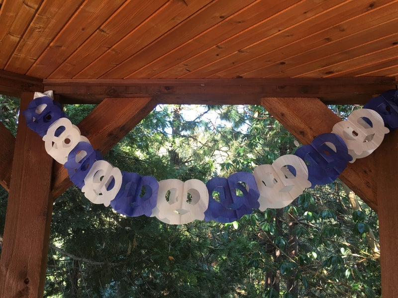 Pretzel Garland Oktoberfest Party Accessory - Below $10, Blue/White, Hanging Decorations, Oktoberfest, Paper, PS- Oktoberfest Decorations, PS- Oktoberfest Essentials-All OKT Items, PS- Oktoberfest Hanging Decor, PS- Oktoberfest Table Decor, Tableware - 2