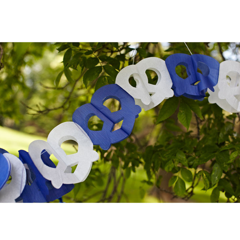 Pretzel Garland Oktoberfest Party Accessory - Below $10, Blue/White, Hanging Decorations, Oktoberfest, Paper, PS- Oktoberfest Decorations, PS- Oktoberfest Essentials-All OKT Items, PS- Oktoberfest Hanging Decor, PS- Oktoberfest Table Decor, Tableware - 2 - 3