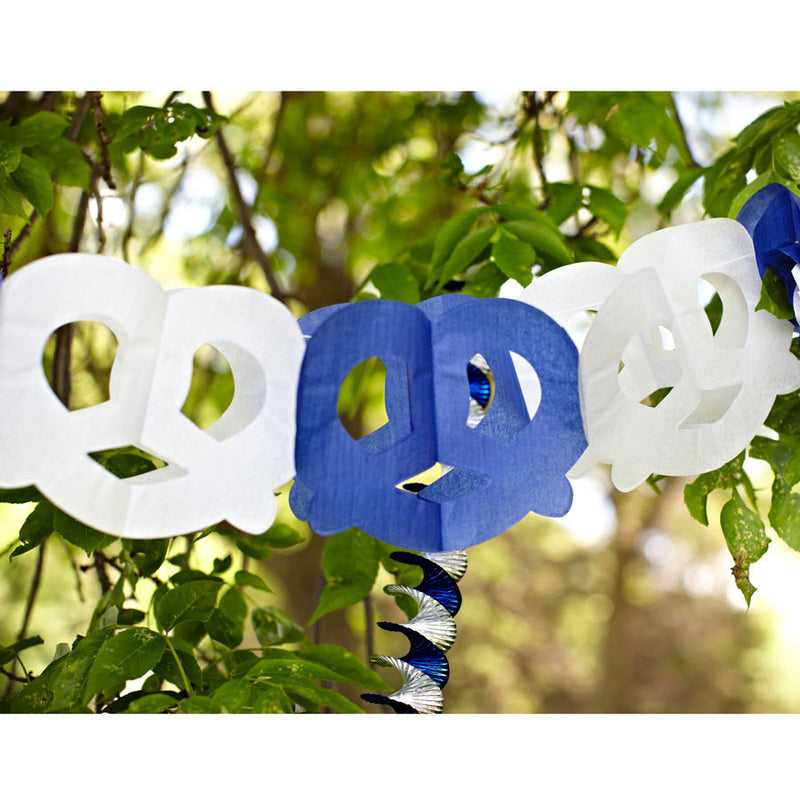 Pretzel Garland Oktoberfest Party Accessory - Below $10, Blue/White, Hanging Decorations, Oktoberfest, Paper, PS- Oktoberfest Decorations, PS- Oktoberfest Essentials-All OKT Items, PS- Oktoberfest Hanging Decor, PS- Oktoberfest Table Decor, Tableware - 2 - 3 - 4