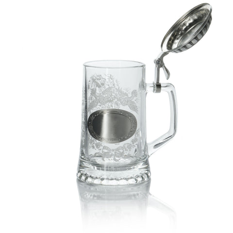 Glass German Wedding Beer Stein