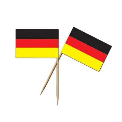 German Flag Toothpicks (50/Pkg) - Cocktail Decorations, German, Oktoberfest, PS- Oktoberfest Essentials-All OKT Items, PS- Oktoberfest Table Decor, PS-Party Supplies, Tableware