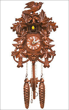 Black Forest Chalet cuckoo clock w/ birds and oak leaves
