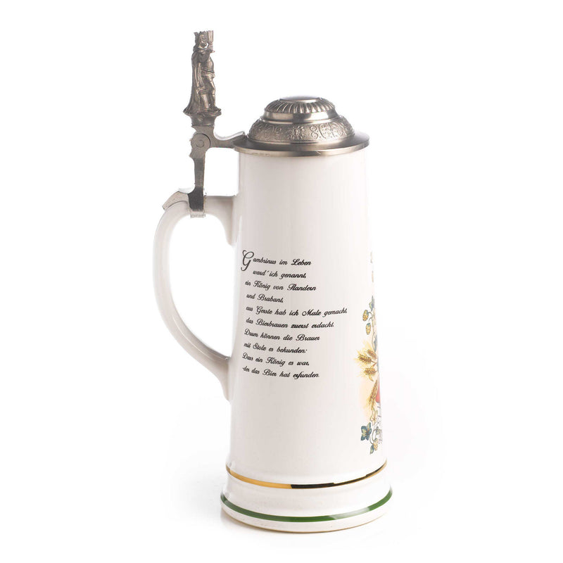 3/4 Liter Gambrinus Ceramic German Beer Stein - Above $100, Beer Steins, Oktoberfest - 2 - 3 - 4 - 5