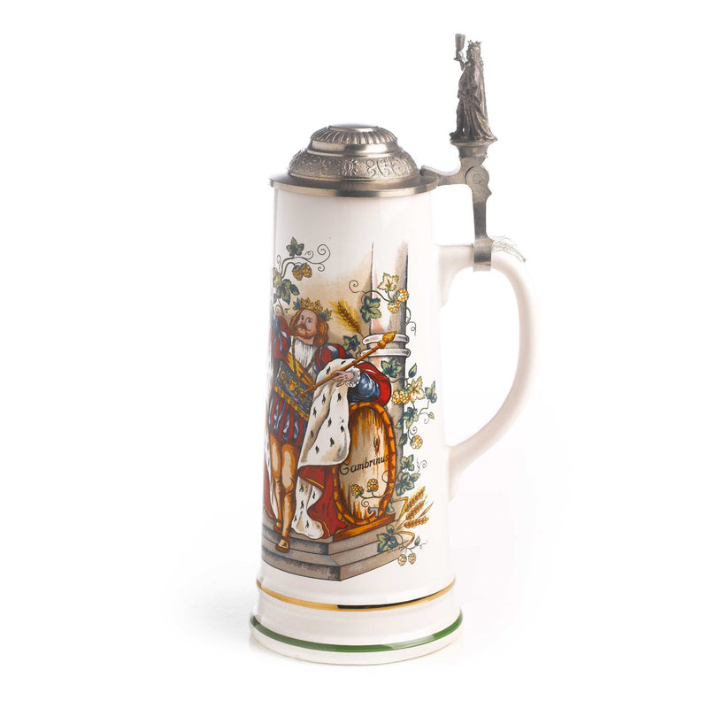 3/4 Liter Gambrinus Ceramic German Beer Stein - Above $100, Beer Steins, Oktoberfest - 2 - 3