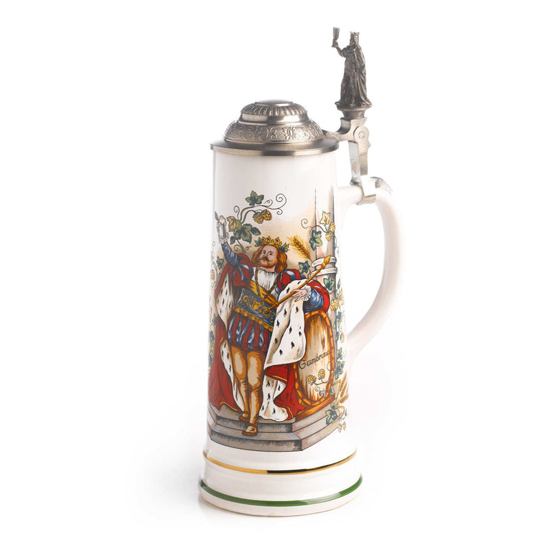 3/4 Liter Gambrinus Ceramic German Beer Stein - Above $100, Beer Steins, Oktoberfest - 2