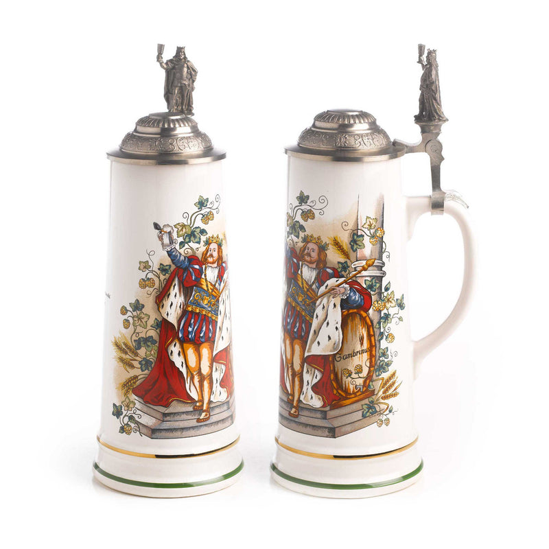 3/4 Liter Gambrinus Ceramic German Beer Stein - Above $100, Beer Steins, Oktoberfest