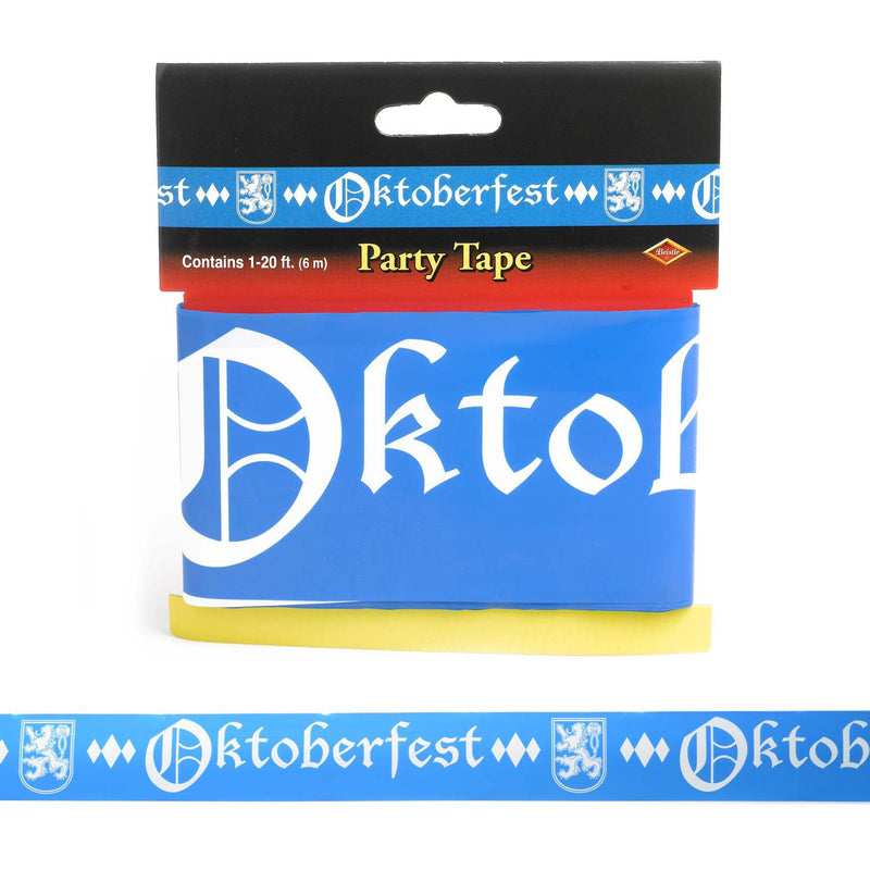 Oktoberfest All Weather Party Tape 20 Feet - Below $10, Hanging Decorations, Multi-Color, Oktoberfest, Plastic, PS- Oktoberfest Decorations, PS- Oktoberfest Essentials-All OKT Items, PS- Oktoberfest Hanging Decor, PS- Oktoberfest Table Decor, PS-Party Favors, PS-Party Supplies, Tableware, Top-OFST-B