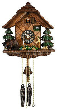 River City Clocks One Day Fisherman and Bear Cuckoo Clock