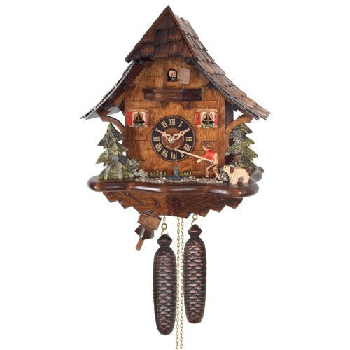 Eight Day Cuckoo Clock Cottage - Fisherman Raises Fishing Pole