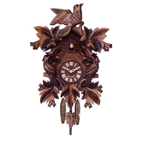 Quartz Cuckoo Clock With Seven Hand-Carved Maple Leaves And Three Birds - 16 Inches Tall