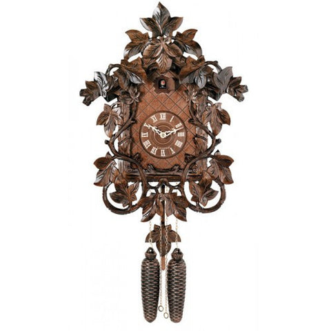 Eight Day Cuckoo Clock With Intricate Hand-Carved Maple Leaves And Vines