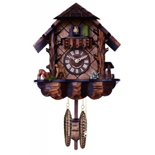 Musical Quartz Cuckoo Clock With Hand-Carved Case And Feeding Deer - 10 Inches Tall