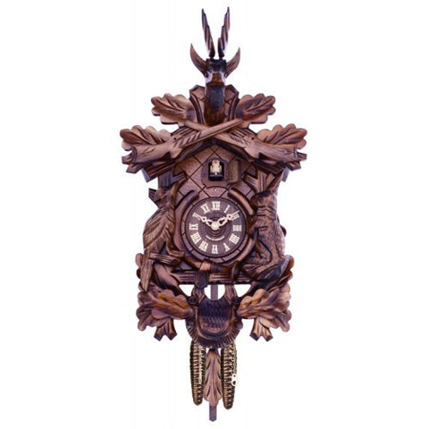 Hunter's Quartz Cuckoo Clock With Hand-Carved Oak Leaves, Bunny, Bird, And Crossed Rifles, And Buck - 16 Inches Tall