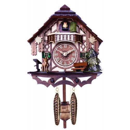 Musical Quartz Cuckoo Clock Cottage With Deer, Water Pump, And Tree- 10 Inches Tall