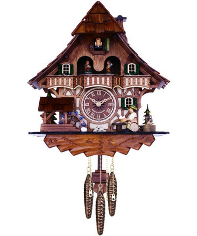 Musical Black Forest Quartz Cuckoo Clock With Dancers, Waterwheel, And Beer Drinker - 14 Inches Tall