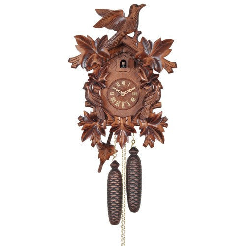 Eight Day Cuckoo Clock With Three Hand-Carved Birds And Seven Leaves
