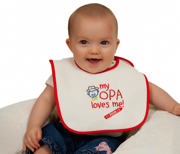 German Gift Idea Baby Bib My Opa Loves Me