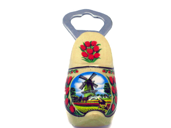 Bottle Opener Wooden Shoe with Windmill & Tulips