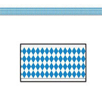 Oktoberfest Bavarian Check Poly Decorating Material 50 Feet - Bavarian Blue White Checkers, Bayern, Hanging Decorations, Oktoberfest, PS- Oktoberfest Decorations, PS- Oktoberfest Essentials-All OKT Items, PS- Oktoberfest Hanging Decor, PS- Oktoberfest Table Decor, PS-Party Supplies, Tableware