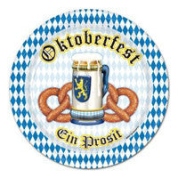 Oktoberfest Decorations: Paper Plates 9 inches - Bayern, German, Germany, Oktoberfest, PS- Oktoberfest Decorations, PS- Oktoberfest Essentials-All OKT Items, PS- Oktoberfest Table Decor, PS-Party Supplies, Tableware, Top-OFST-A