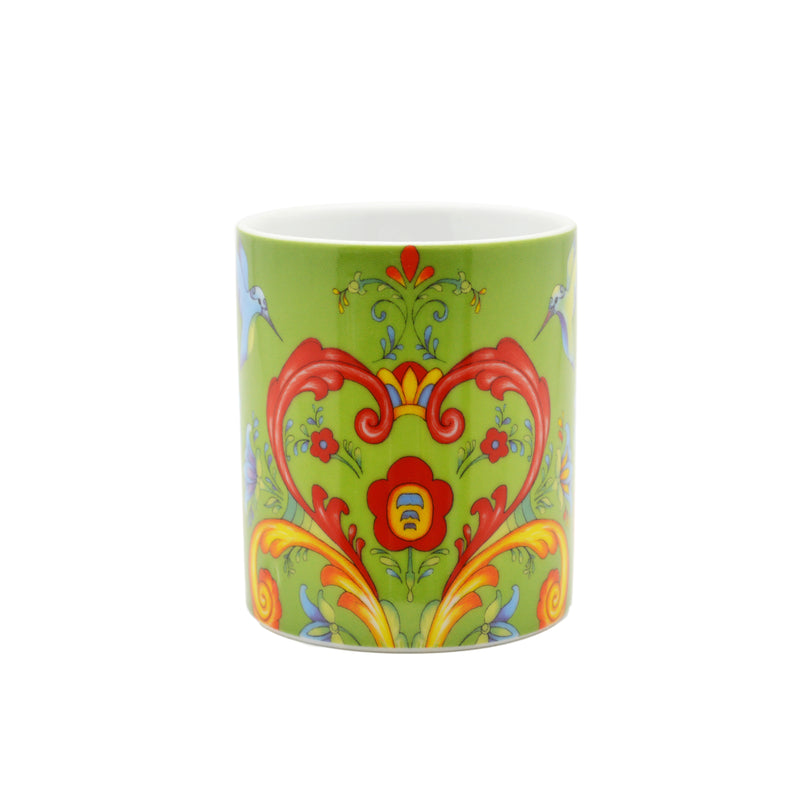 Ceramic Coffee Mug Green Rosemaling - Coffee Mugs, Coffee Mugs-German, Coffee Mugs-Swedish, CT-500, European, New Products, NP Upload, Rosemaling, Scandinavian, Under $10, Yr-2015 - 2