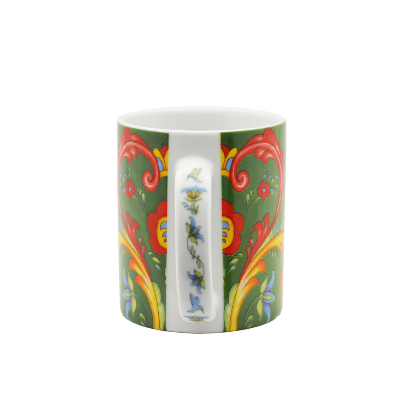 Ceramic Coffee Mug Green Rosemaling - Coffee Mugs, Coffee Mugs-German, Coffee Mugs-Swedish, CT-500, European, New Products, NP Upload, Rosemaling, Scandinavian, Under $10, Yr-2015 - 2 - 3