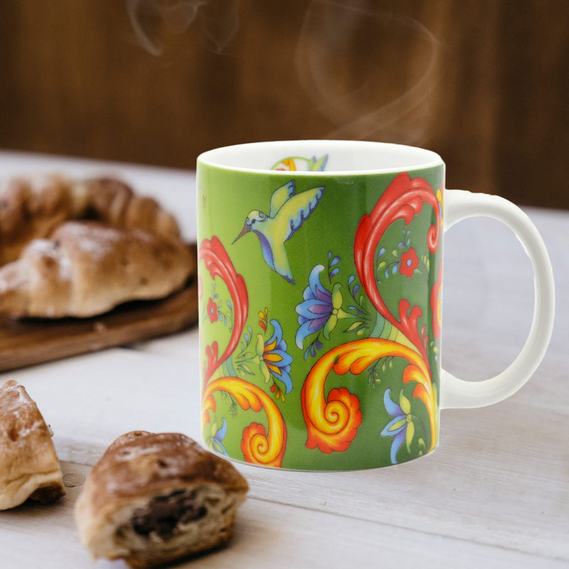 Ceramic Coffee Mug Green Rosemaling