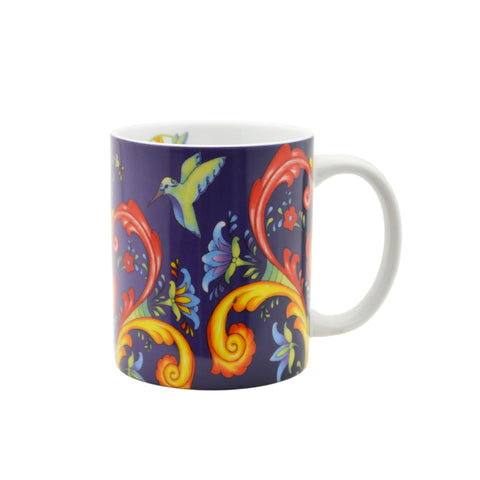 Ceramic Coffee Mug Blue Rosemaling