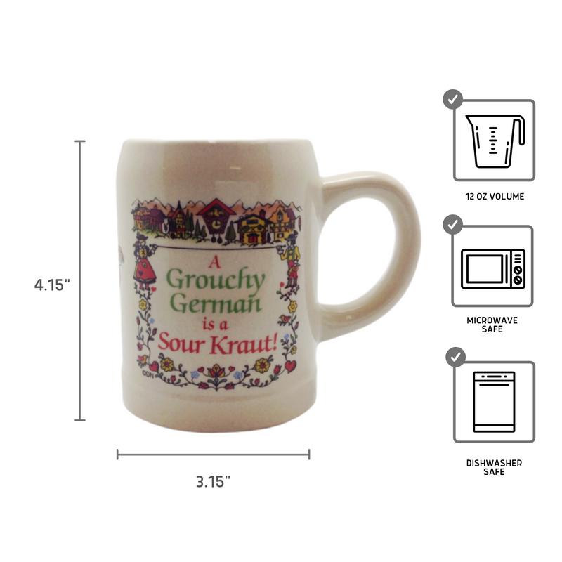 "German Coffee Mug: ""Grouchy German Is A Sour Kraut!"""