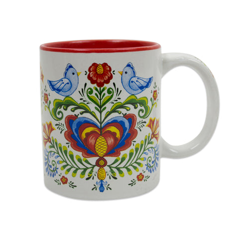 Elegant Rosemaling & Lovebirds Ceramic Coffee Mug