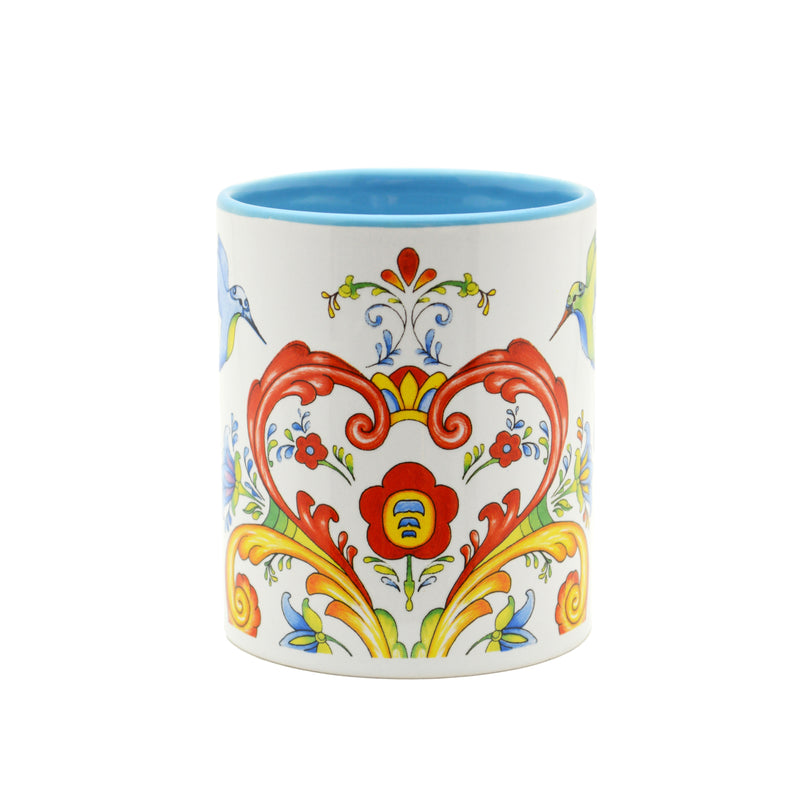 Ceramic Coffee Mug Rosemaling & Humingbird - Coffee Mugs, Coffee Mugs-German, Coffee Mugs-Swedish, CT-500, European, New Products, NP Upload, Rosemaling, Scandinavian, Top-SWED-B, Under $10, Yr-2016 - 2 - 3