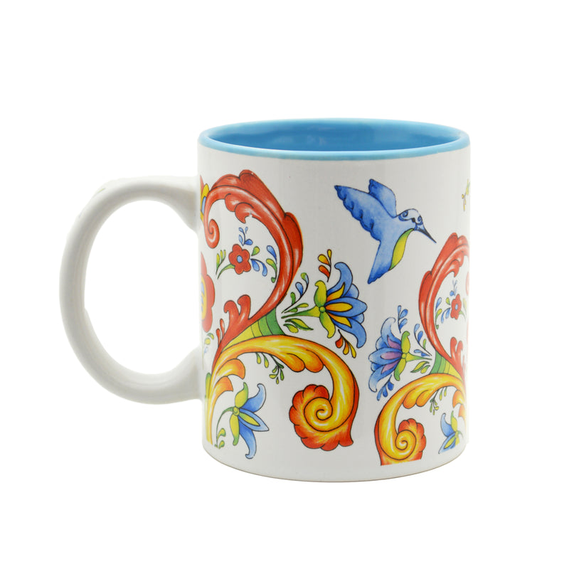 Ceramic Coffee Mug Rosemaling & Humingbird - Coffee Mugs, Coffee Mugs-German, Coffee Mugs-Swedish, CT-500, European, New Products, NP Upload, Rosemaling, Scandinavian, Top-SWED-B, Under $10, Yr-2016 - 2 - 3 - 4