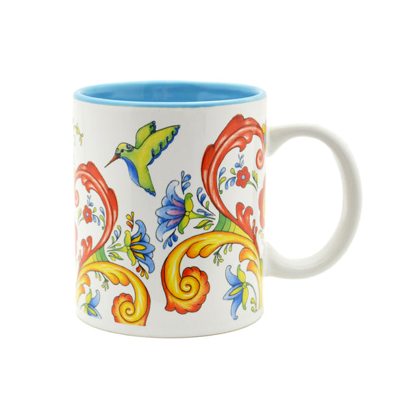 Ceramic Coffee Mug Rosemaling & Humingbird