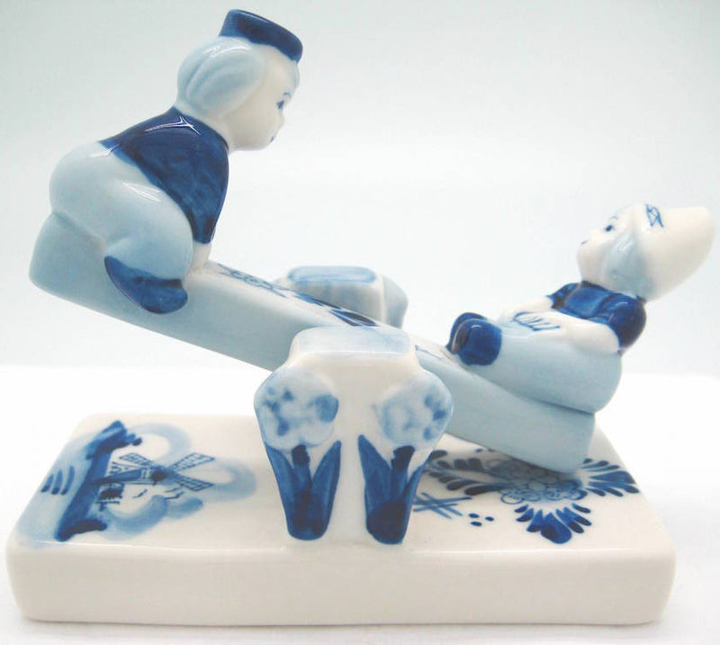 Delft Blue Children on Teeter Totter - Delft Blue, Dutch, Figurines, PS-Party Favors - 2