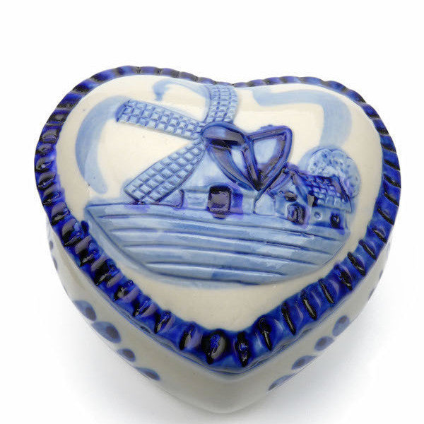 Delft Blue & White Ring Box Embossed Windmill Design
