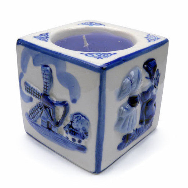 Delft Blue Votive Candles Embossed Mill & Kiss