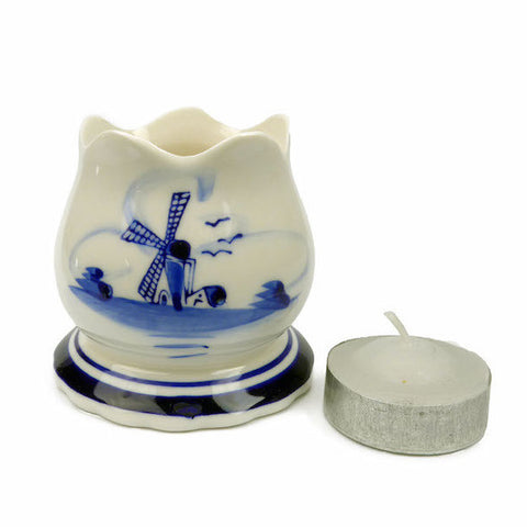 Delft Blue Votive Candles with Tulip Design