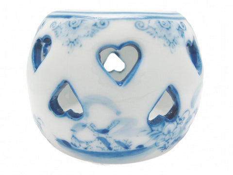 Ceramic Blue Votive Candleholder With Hearts