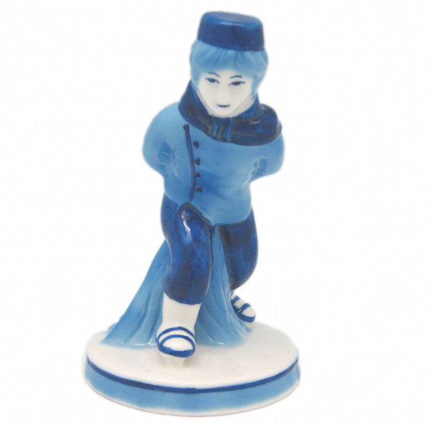 Delft Blue and White Figurine: Dutch Boy Skater